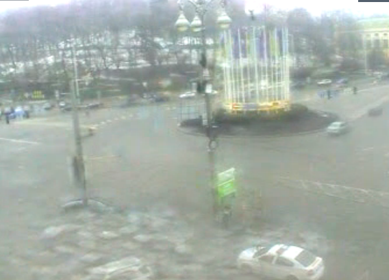 Blocked part of the European square in the direction of the Maidan
